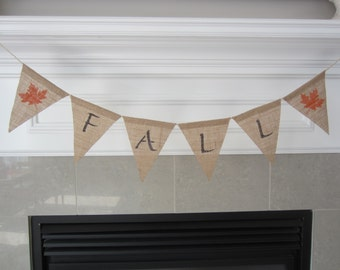 Fall burlap banner - Fall banner with maple leaves- burlap pennant