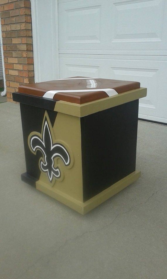 New Orleans Saints Inspired Storage Box End Table Nfl Coffee