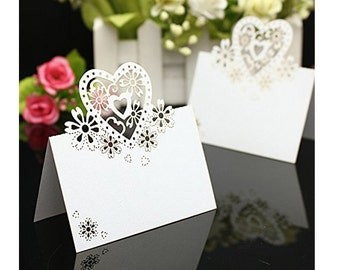 50Pcs White Wedding Party Decoration Love Heart Floral TableNumbers Name Place Cards Favors