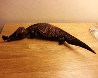 Vintage African Tribal hand carved crocodile / Lizard