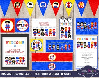SUPERHERO PARTY PRINTABLE, Instant download Superhero Printable, Superhero Party, Print yourself Superhero, Edit with Free Adobe Reader