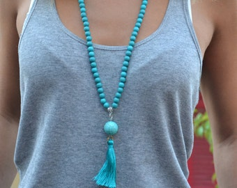 Necklace Indian Bohemian wood - bead wood and big Pearl boho - Pompom pink or turquoise