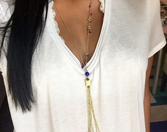 SALE! Gold chain necklace with royal blue accent beads and a chain tassel