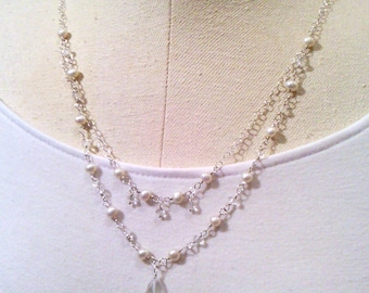 necklace with white freshwater pearls and crystal quartz