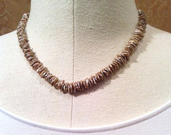 Necklace with taupe center-drilled keishi pearls