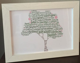 Personalised word art Family Tree Keepsake Gift unique print / print & frame - Traditional Tree / Apple Tree / Blossom Tree Designs