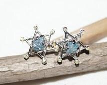 Rough diamond earring, raw diamond earring, uncut diamond earring, rustic diamond earrings, bridal diamond earrings, diamond earring silver