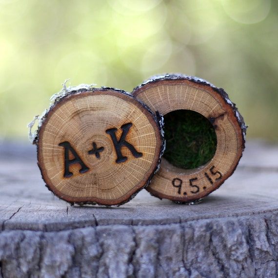 Mini Log Ring Box Boho Wedding Ring Box Wood Ring Box Proposal