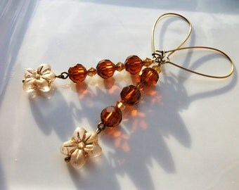 ON SALE Swarovski Crystal Earrings Picasso Beads On Antiqued Brass Kidney Wires