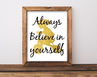 Always believe in yourself, Motivational print, Typography poster, Inspirational quote, Motivational print, Wall Decor, Nursery Print, Gold