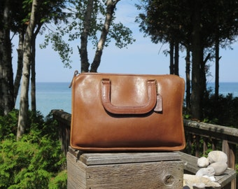 Coach NYC British Tan Leatherware Slim Standard Satchel Tote Mini Briefcase Handbag Notebook Case  VGC Made in New York City