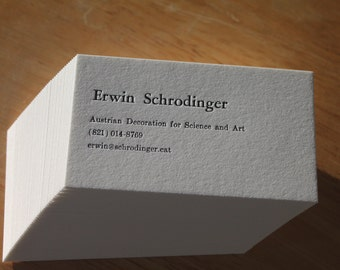 250 Letterpress  Business Cards Hand Printed on Single Ply 110 Crane's Lettra