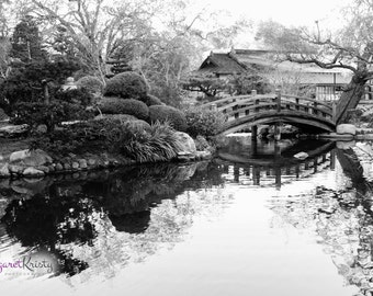 Black and White Japanese Garden - bridge water photography