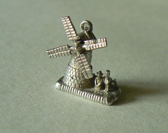 ON SALE! Vintage Sterling Silver Moving Windmill Charm; Silver Dutch Windmill Charm