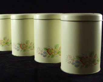 Woolworths 'Country Lane' small kitchen canisters x 4, from the 1980s