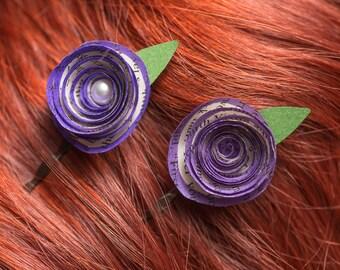 Handmade rolled rose fascinator, bridal fascinator, bridal party fascinator, literary accessories, purple fascinator, hair accessory