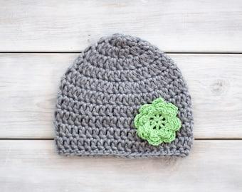 Crochet Flower Hat - Grey & Green