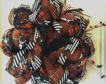 Festive Halloween Wreath; Orange and Black Mesh Wreath; Fall Wreath; Front Door Wreath; High Quality Wreath; Wreath with Black Bat