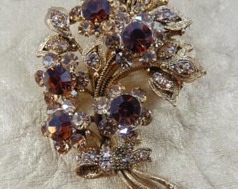 Vintage Gold Tone Dark and Light Amber Rhinestone Flower Spray Brooch Pin