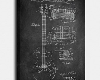 Gibson Les Paul Aguitar Canvas Print, Gibson Les Paul Aguitar Patent,  Vintage Art,  Blueprint,  Poster, PatentPrints, Wall Art, Decor[MU2C]