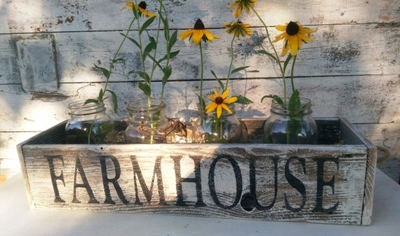 Farmhouse Rustic Wooden Box Centerpiece Table