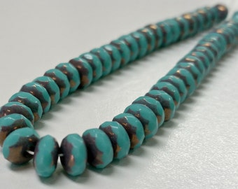 "Czech Glass Opaque Turquoise Picasso Faceted Rondelles with Antiqued Silver 7x4mm 8"" Strand"