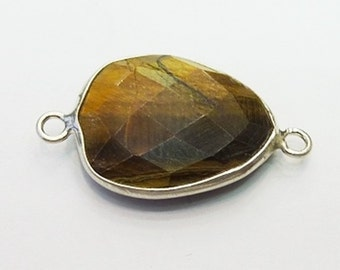 Spacer bead 925 silver and tiger eye 17 * 13 * 4-1.