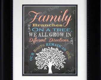 Chalkboard Family Tree Home Decor Print