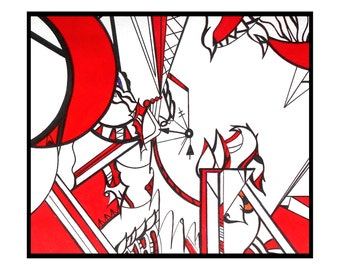 Abstract art black red drawing modern pen and ink - It's Time by Caerys Walsh