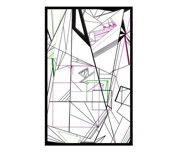 Minimaliste dessin abstrait g om trique art noir blanc vert for Oeuvre minimaliste