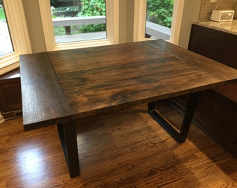 "60""-96"" Farmhouse Table with Metal Legs -(Indiana)- Modern, Industrial, Rustic, Farm, Dining Table, Kitchen Table, Desk, Steel Legs"