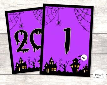halloween wedding table numbers 1 20 instant download halloween wedding decor - Halloween Numbers Printable