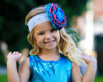 Cotton Candy Turquoise and Bright Pink Singed Flower Headband