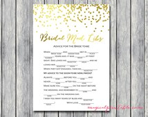 Bridal Mad libs, bridal advice, advice for bride to be, Gold Confetti Bridal Shower, Gold foil Bachelorette, Wedding Shower BS87