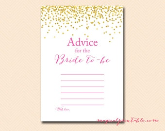 Advice for the bride to be, instant download, bridal shower advice cards, Gold Confetti Bridal Shower, Hot Pink, Wedding Shower BS63