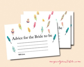 Advice for the bride to be card, feather, tribal bridal shower, bird, Feather Bridal Shower, wedding shower, advice cards BS60