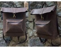 Genuine Leather Backpack. Designer Backpack. Unisex Backpack + 3 PRESENTS (leather wallet, leather slim wallet, cable organizer)
