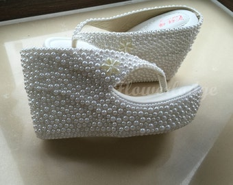 White Flip Flops-4 inch Wedge Flip Flops-white/ivory Pearl Women Sandals/ Custom Women Shoes-Made To Order