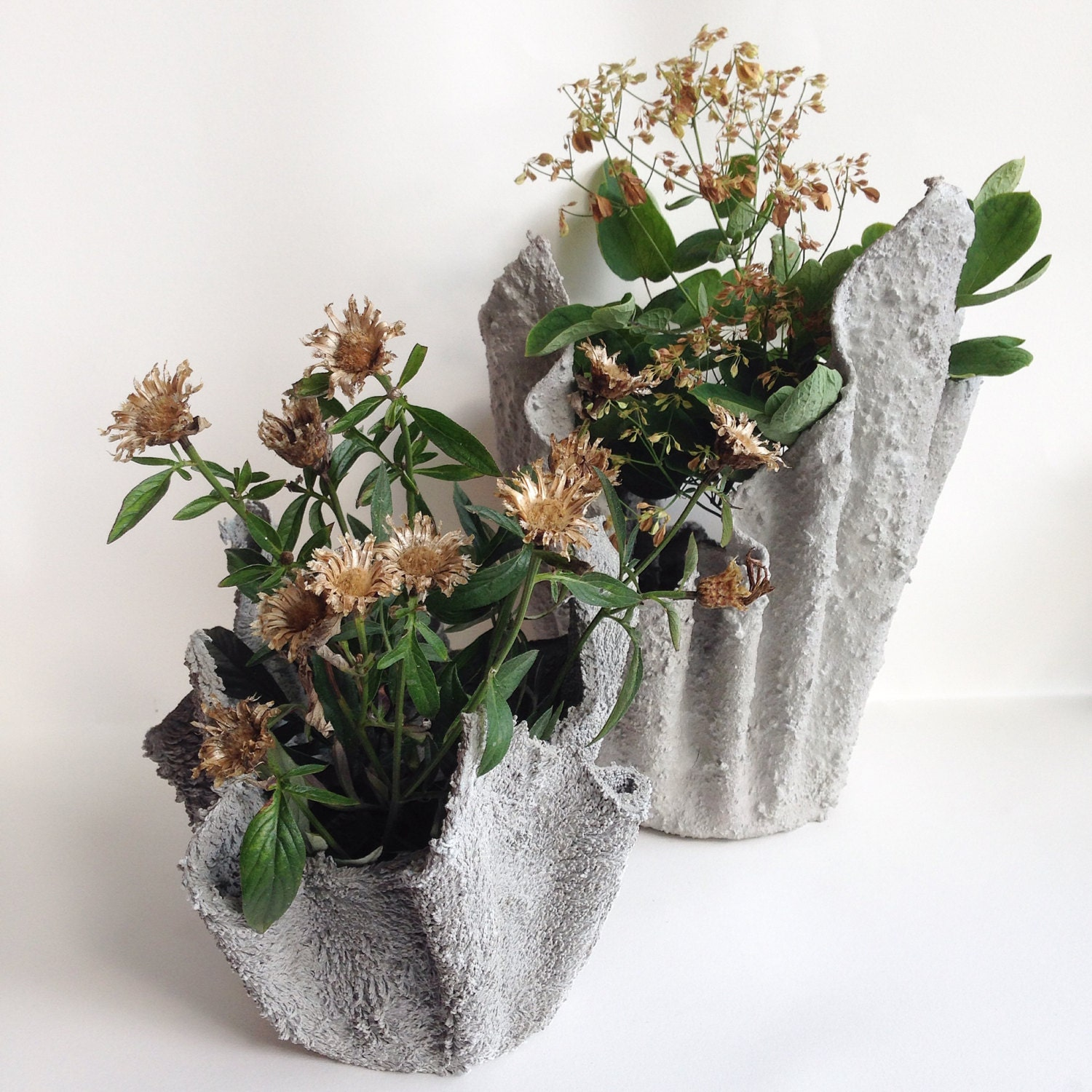 Large draped fabric cement planter hypertufa by geometricgarden - Cloth cement plant pots ...