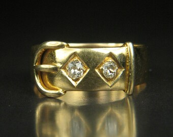 Antique Victorian Period 18 Carat Gold Diamond Buckle Ring