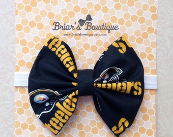 Pittsburgh Steelers bow clip or headband; football bow; Steelers fabric bow on white elastic headband or clip; Team bow; baby, toddler, girl