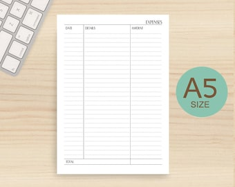Expenses tracker, printable paper, daily expenses planner, Filofax A5