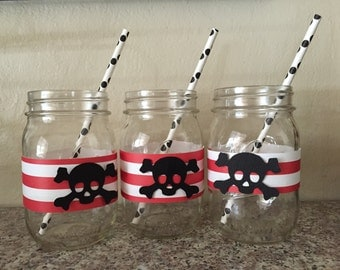 Red/White Stripe With Black Skull & Crossbones Pirate Mason Jars, Pirate Party, Jack Sparrow Party, 1st Birthday