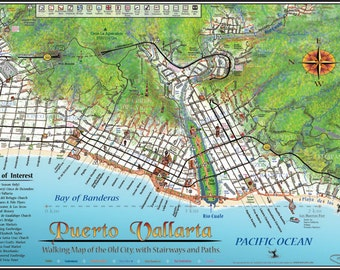 Puerto Vallarta Walking Map 2015, Laminated