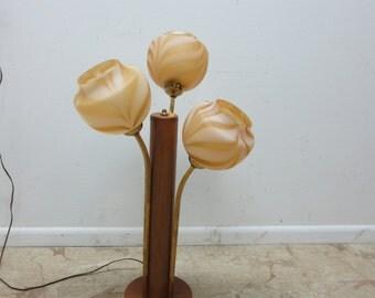 Vintage Mid Century Tiki Murano Orb Glass 3 Way Table Lamp Light