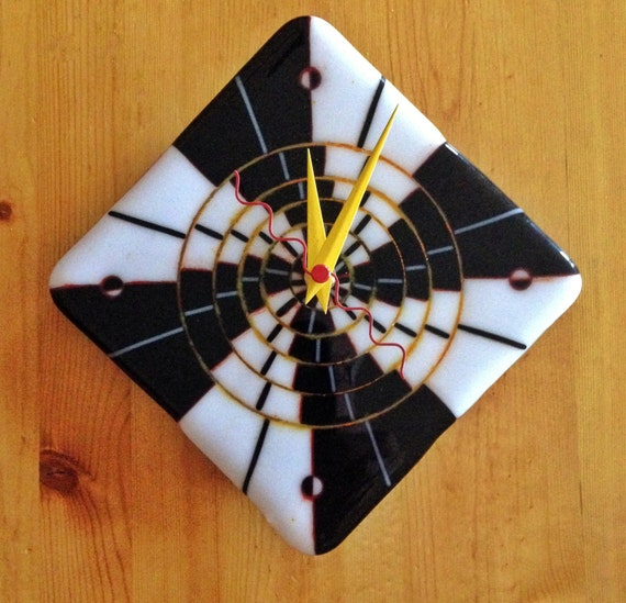 pulsar fused glass wall clock by cactusclocks on etsy