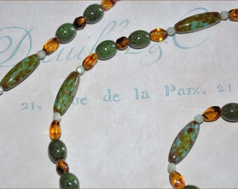 Green Bead Necklace, Extra Long Necklace, Gold Luster Beads, Double Strand Beads, Long Beaded Necklace, Lampwork Beads