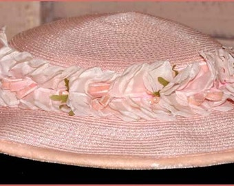 Pale Pink Cello Hat, Pink Beaded Hat, Pink Flowered Hat, Ladies Pink Tilt Hat, Pink Straw Hat, Pink Tilt Hat, Straw Tilt Hat