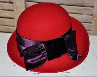 Red Wool Hat, Ladies Red Hat, Red Hat Society, Red Bowler Hat, Ladies Bowler Hat, Wool Bowler Hat, Red Cloche Hat