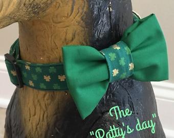 Dog collar, dog bow tie, shamrock dog collar, st patricks day dog collar, green and gold dog collar, st patricks day bow tie, collar bow tie